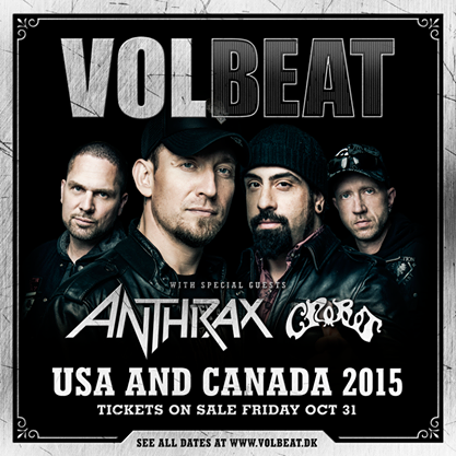 Volbeat announces Spring 2015 tour w/ Anthrax