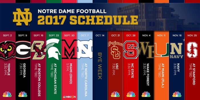 Notre Dame announces kickoff times for 2017, schedule for 2018 and 2019