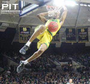 VJ Beachem's dunk late in the first half gave Notre Dame the momentum shift to power past Boston College, 82-66. Stephanie Sokol/The Pit